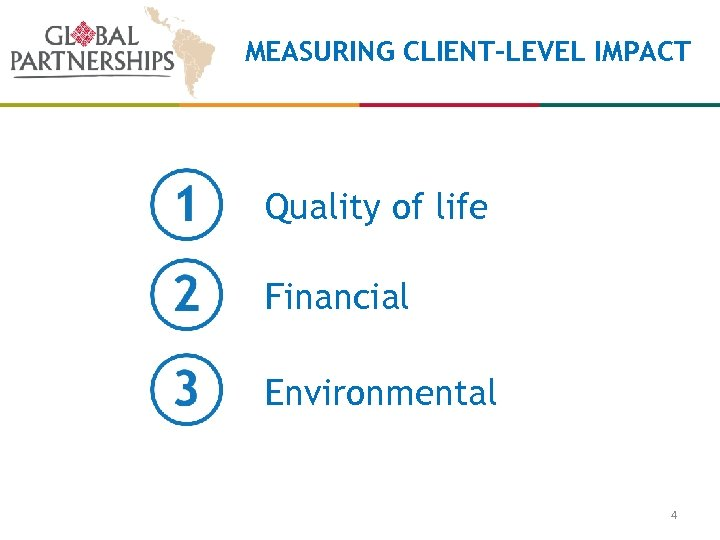 MEASURING CLIENT-LEVEL IMPACT Quality of life Financial Environmental 4
