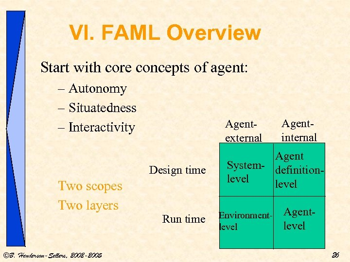 VI. FAML Overview Start with core concepts of agent: – Autonomy – Situatedness –