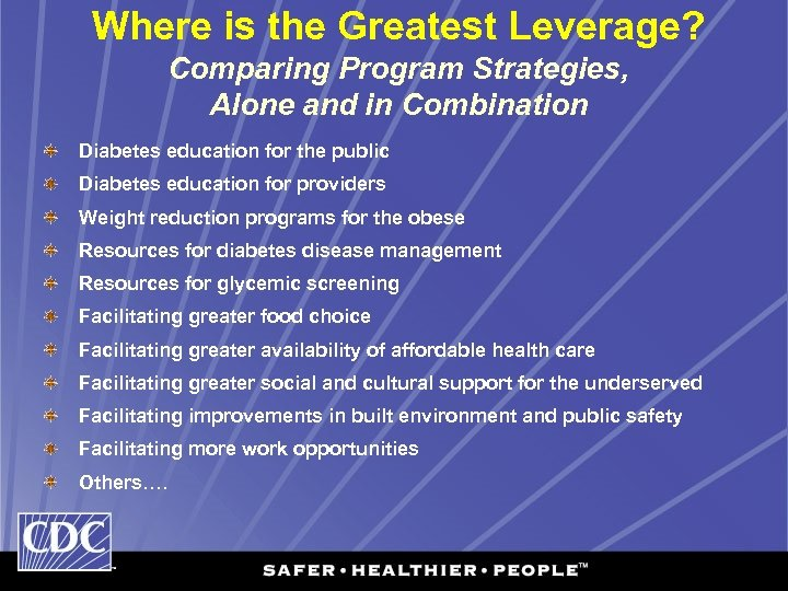 Where is the Greatest Leverage? Comparing Program Strategies, Alone and in Combination Diabetes education