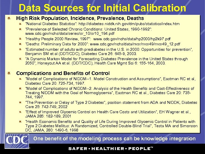 """Data Sources for Initial Calibration High Risk Population, Incidence, Prevalence, Deaths """"National Diabetes Statistics"""":"""