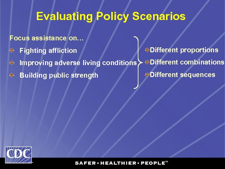 Evaluating Policy Scenarios Focus assistance on… Fighting affliction Different proportions Improving adverse living conditions