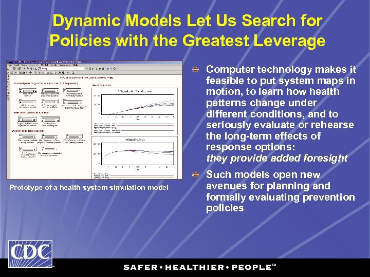 Dynamic Models Let Us Search for Policies with the Greatest Leverage Computer technology makes