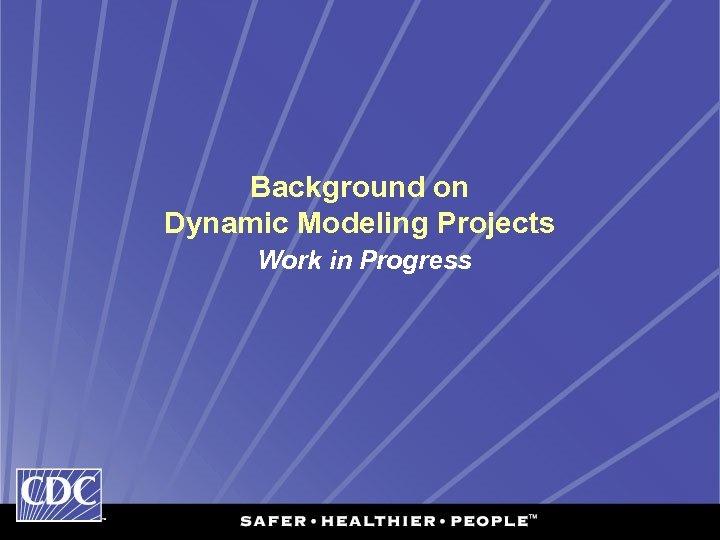 Background on Dynamic Modeling Projects Work in Progress