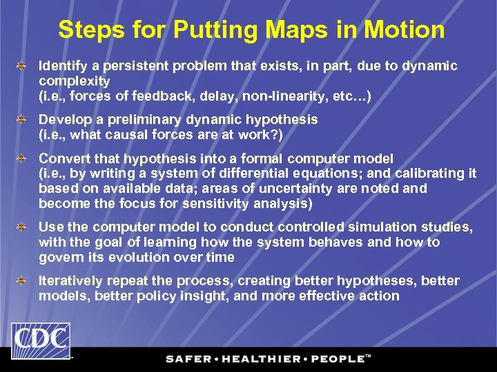Steps for Putting Maps in Motion Identify a persistent problem that exists, in part,