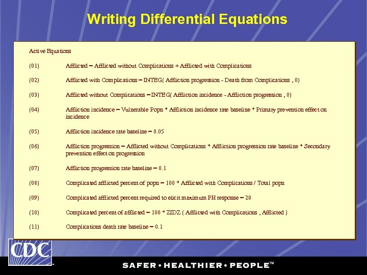 Writing Differential Equations Active Equations (01) Afflicted = Afflicted without Complications + Afflicted with