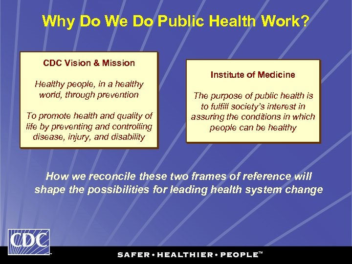 Why Do We Do Public Health Work? CDC Vision & Mission Healthy people, in