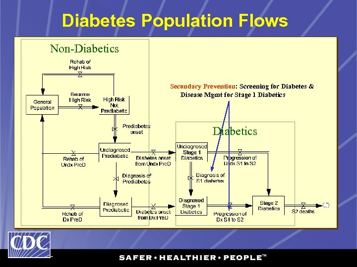 Diabetes Population Flows Non-Diabetics Secondary Prevention: Screening for Diabetes & Disease Mgmt for Stage