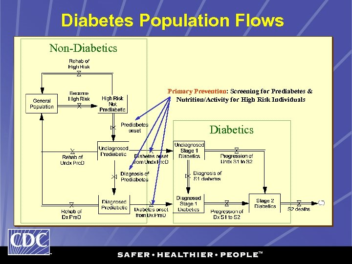 Diabetes Population Flows Non-Diabetics Primary Prevention: Screening for Prediabetes & Nutrition/Activity for High Risk