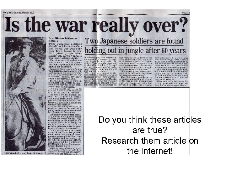Do you think these articles are true? Research them article on the internet!