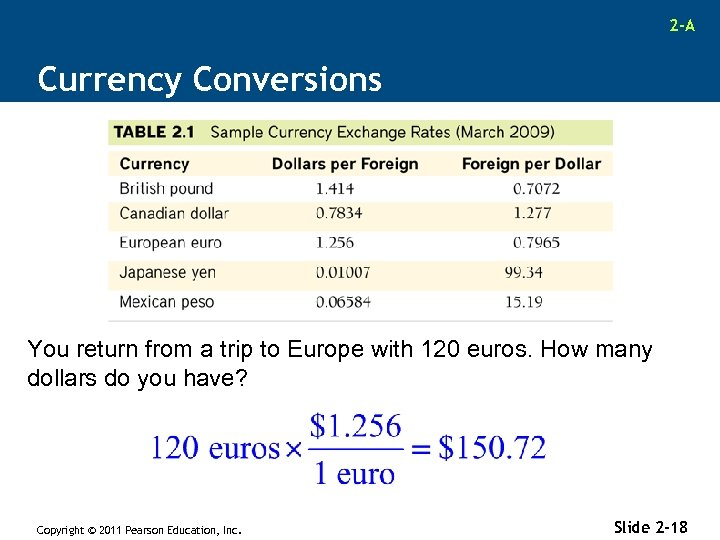 2 -A Currency Conversions You return from a trip to Europe with 120 euros.