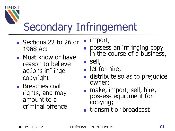 Secondary Infringement n n n Sections 22 to 26 or 1988 Act Must know