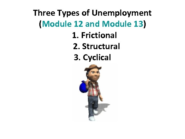 Three Types of Unemployment (Module 12 and Module 13) 1. Frictional 2. Structural 3.