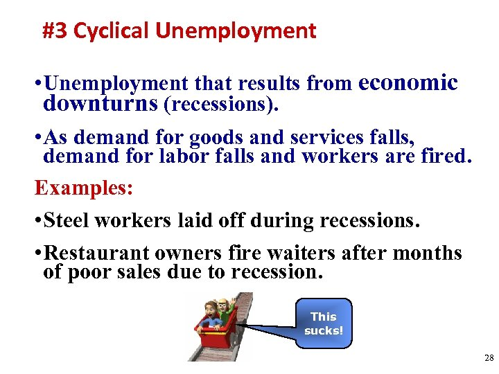 #3 Cyclical Unemployment • Unemployment that results from economic downturns (recessions). • As demand