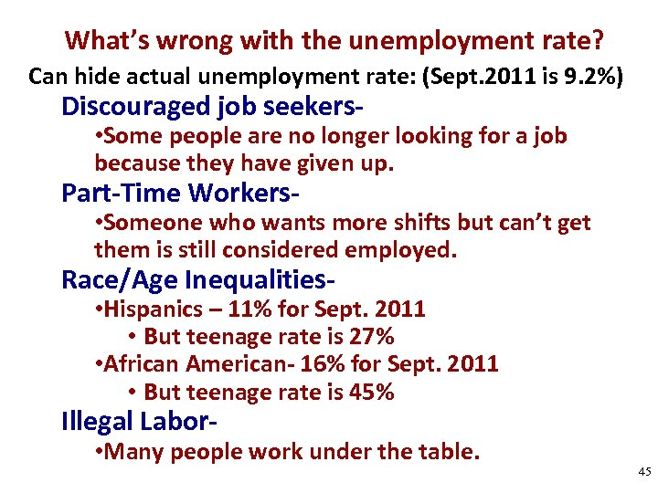 What's wrong with the unemployment rate? Can hide actual unemployment rate: (Sept. 2011 is