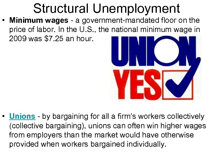 Structural Unemployment • Minimum wages - a government-mandated floor on the price of labor.