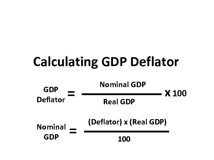 Calculating GDP Deflator Nominal GDP = = Nominal GDP Real GDP x 100 (Deflator)