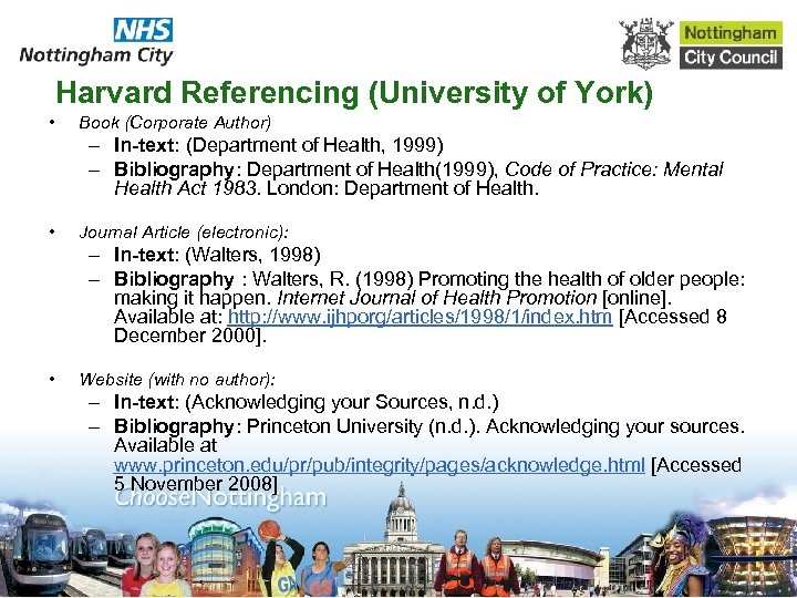 Harvard Referencing (University of York) • Book (Corporate Author) – In-text: (Department of Health,