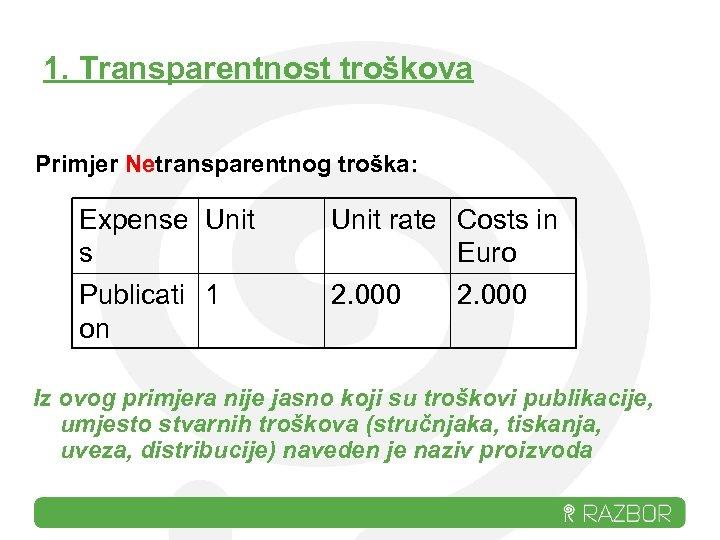 1. Transparentnost troškova Primjer Netransparentnog troška: Expense Unit s Publicati 1 on Unit rate