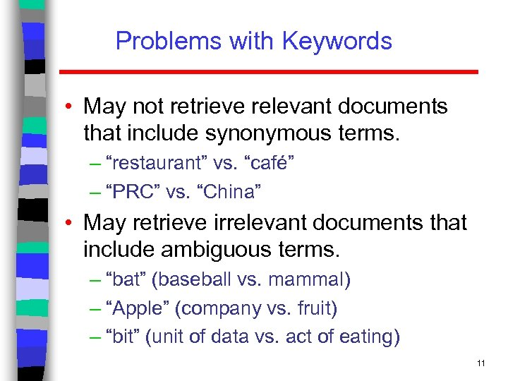 Problems with Keywords • May not retrieve relevant documents that include synonymous terms. –