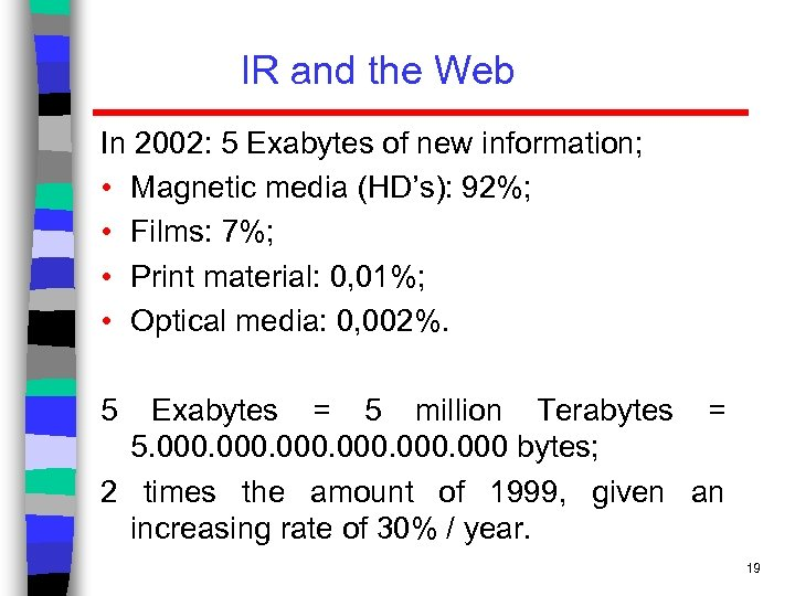 IR and the Web In 2002: 5 Exabytes of new information; • Magnetic media