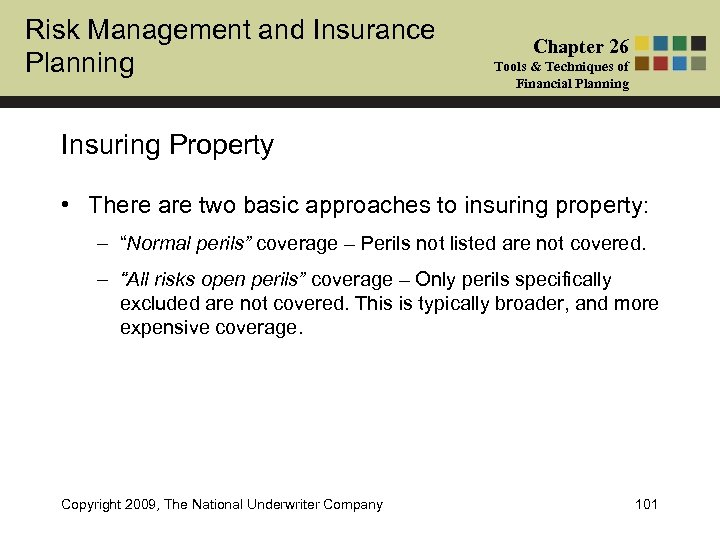 Risk Management and Insurance Planning Chapter 26 Tools & Techniques of Financial Planning Insuring