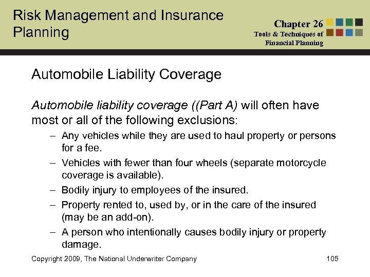 Risk Management and Insurance Planning Chapter 26 Tools & Techniques of Financial Planning Automobile