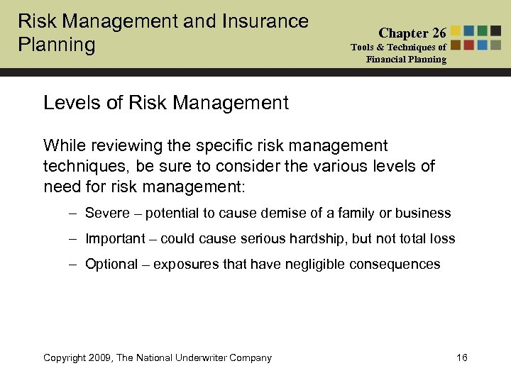 Risk Management and Insurance Planning Chapter 26 Tools & Techniques of Financial Planning Levels