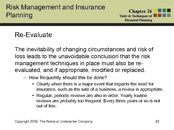Risk Management and Insurance Planning Chapter 26 Tools & Techniques of Financial Planning Re-Evaluate