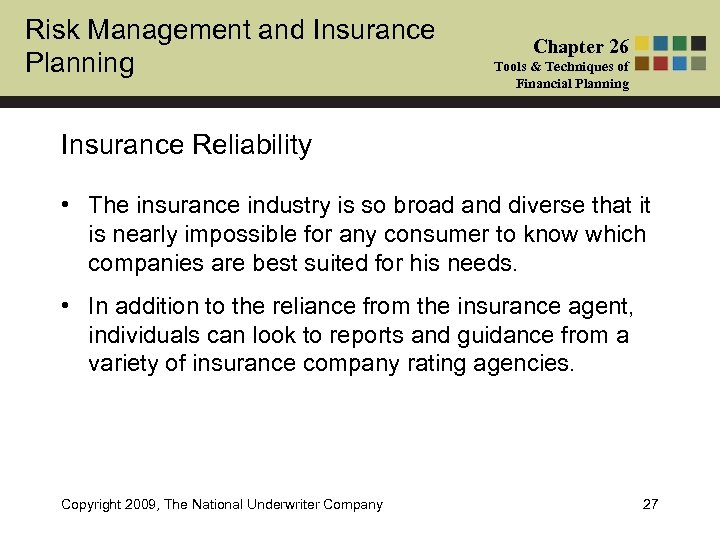 Risk Management and Insurance Planning Chapter 26 Tools & Techniques of Financial Planning Insurance