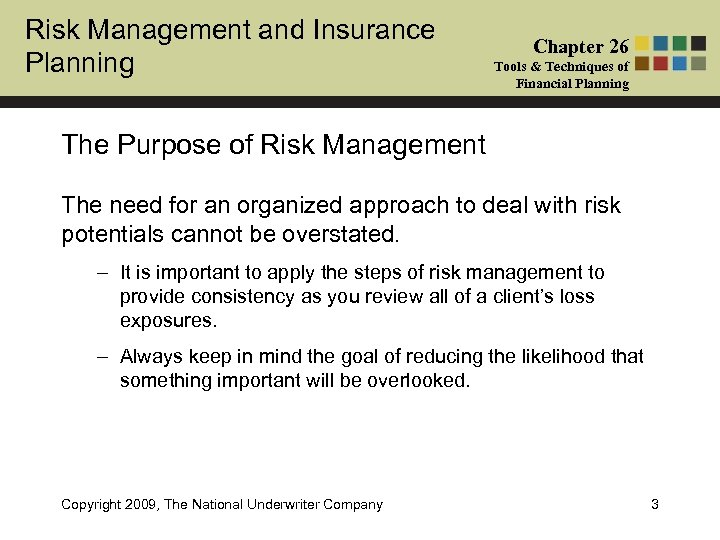 Risk Management and Insurance Planning Chapter 26 Tools & Techniques of Financial Planning The