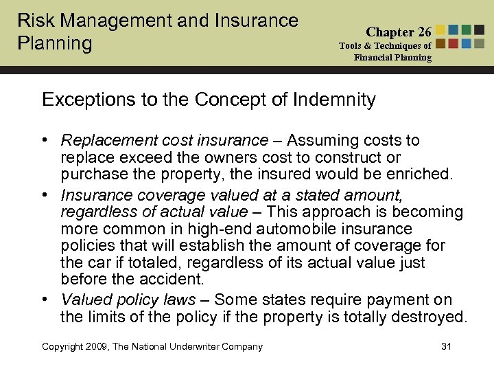 Risk Management and Insurance Planning Chapter 26 Tools & Techniques of Financial Planning Exceptions