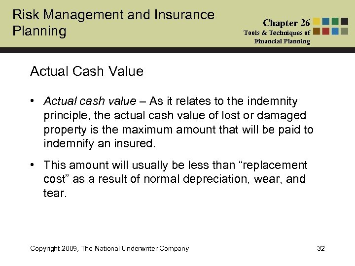 Risk Management and Insurance Planning Chapter 26 Tools & Techniques of Financial Planning Actual