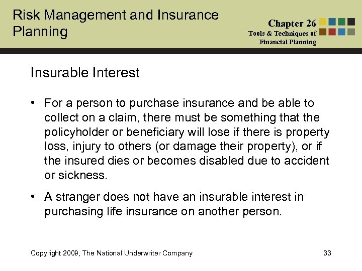 Risk Management and Insurance Planning Chapter 26 Tools & Techniques of Financial Planning Insurable