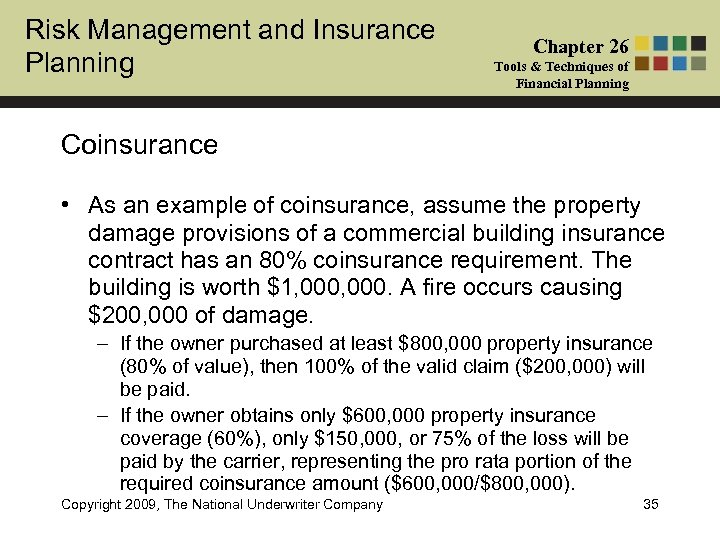 Risk Management and Insurance Planning Chapter 26 Tools & Techniques of Financial Planning Coinsurance