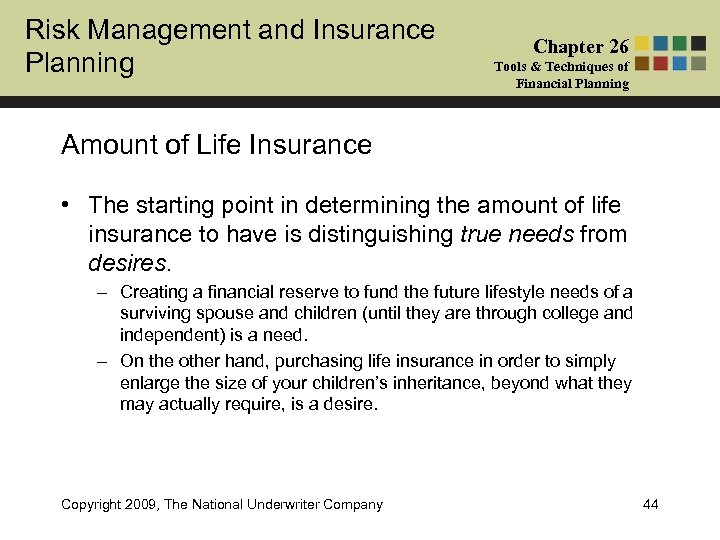 Risk Management and Insurance Planning Chapter 26 Tools & Techniques of Financial Planning Amount