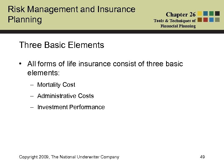 Risk Management and Insurance Planning Chapter 26 Tools & Techniques of Financial Planning Three