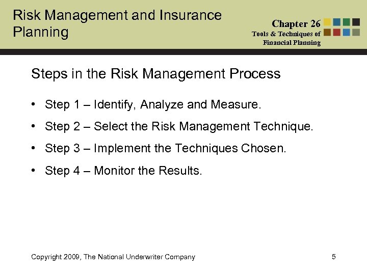 Risk Management and Insurance Planning Chapter 26 Tools & Techniques of Financial Planning Steps