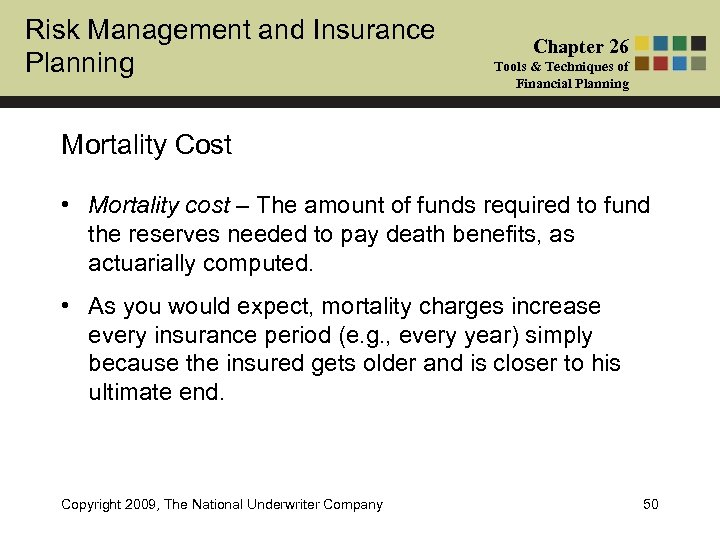 Risk Management and Insurance Planning Chapter 26 Tools & Techniques of Financial Planning Mortality