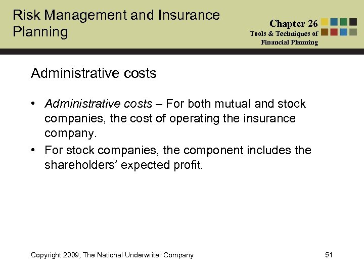Risk Management and Insurance Planning Chapter 26 Tools & Techniques of Financial Planning Administrative
