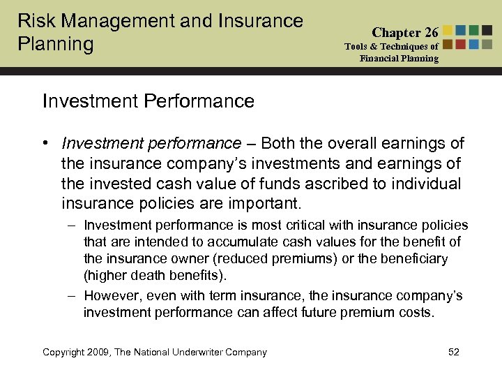 Risk Management and Insurance Planning Chapter 26 Tools & Techniques of Financial Planning Investment