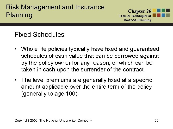 Risk Management and Insurance Planning Chapter 26 Tools & Techniques of Financial Planning Fixed