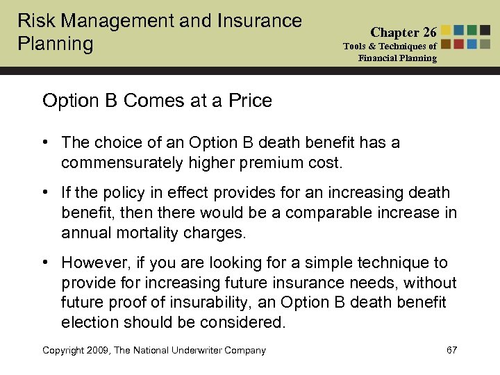 Risk Management and Insurance Planning Chapter 26 Tools & Techniques of Financial Planning Option