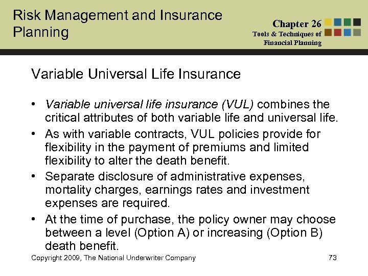 Risk Management and Insurance Planning Chapter 26 Tools & Techniques of Financial Planning Variable