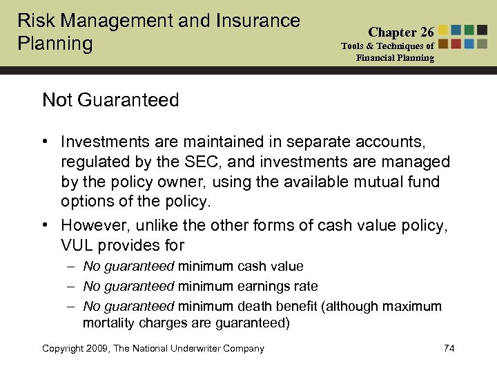 Risk Management and Insurance Planning Chapter 26 Tools & Techniques of Financial Planning Not