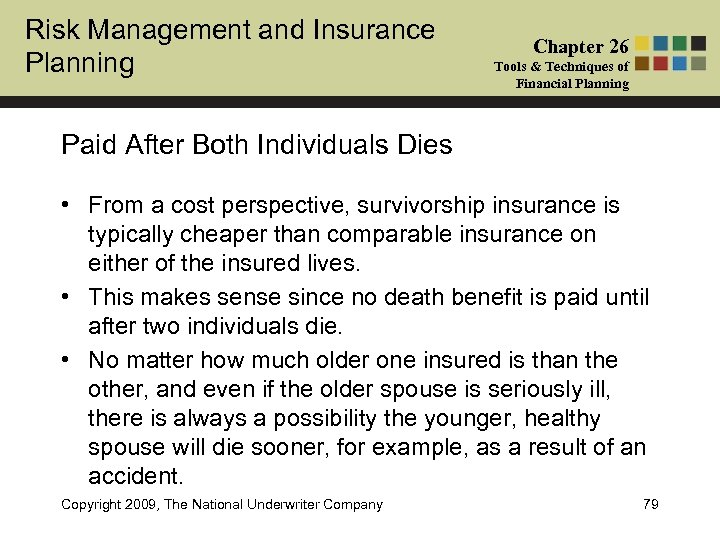 Risk Management and Insurance Planning Chapter 26 Tools & Techniques of Financial Planning Paid