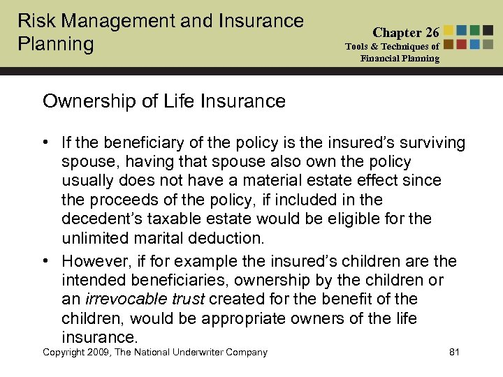 Risk Management and Insurance Planning Chapter 26 Tools & Techniques of Financial Planning Ownership