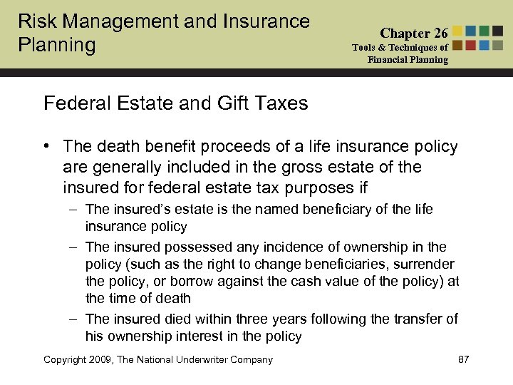 Risk Management and Insurance Planning Chapter 26 Tools & Techniques of Financial Planning Federal
