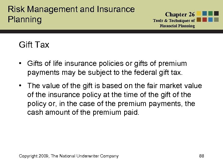 Risk Management and Insurance Planning Chapter 26 Tools & Techniques of Financial Planning Gift