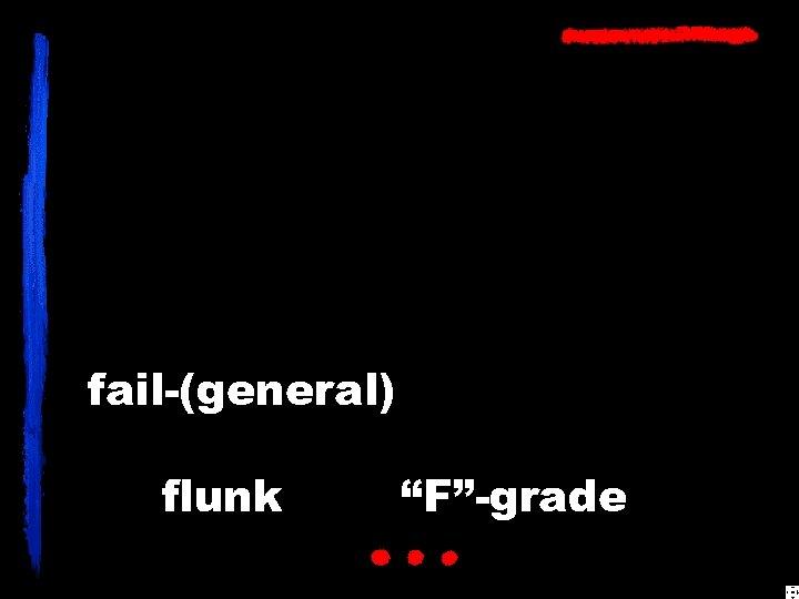"""fail-(general) flunk """"F""""-grade"""
