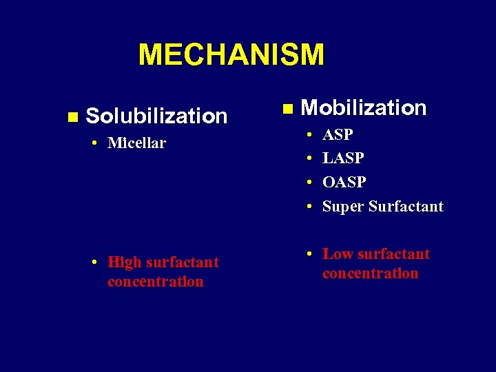 MECHANISM n Solubilization n Mobilization • Micellar • • • High surfactant concentration •